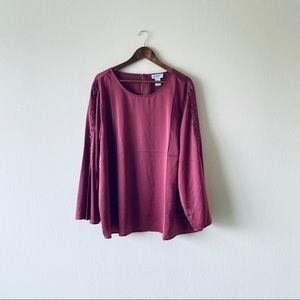 Satin Button Sleeve Blouse